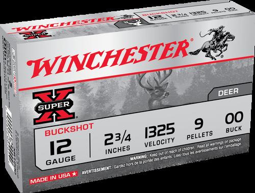"""Winchester Super-X 12 Gauge 2.75"""" 9 Pellet 00 Buck Shot 5Rnd Shotgun Ammo"""