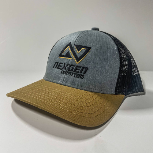 classic center logo trucker hat with snap back closure.