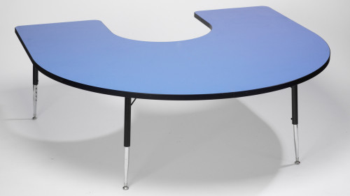 Tuf top Height Adjustable Horseshoe Top Table Blue