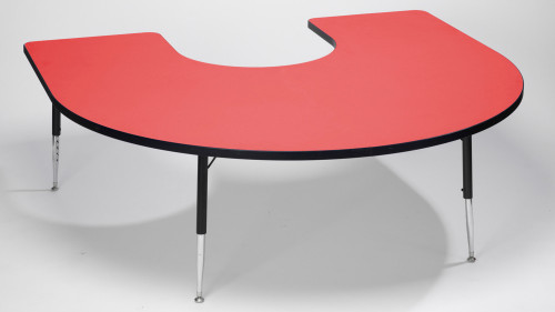 Tuf Top Height Adjustable Horseshoe Top Table Red