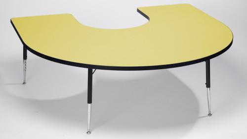 Tuf Top Height Adjustable Horseshoe Top Table Yellow