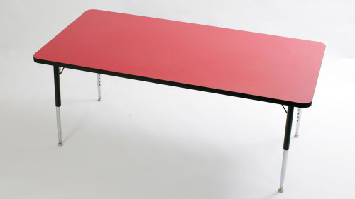 Tuf Top Height Adjustable Rectangular Top Table Red