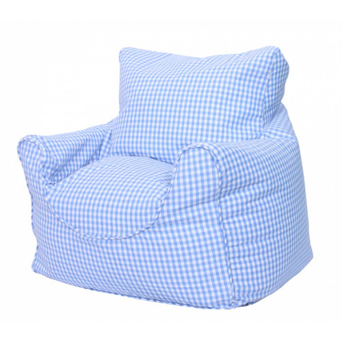 Blue Gingham Childrens Bean Bag Chair Cover