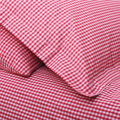 Red Gingham Single Fitted Sheet