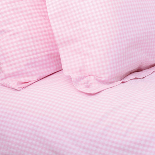 Pink Gingham Double Duvet Set