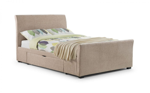 Capri Fabric Bed With Drawers 135cm