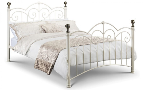 Isabel Stone White/Brass Bed 135cm