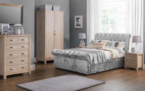 Verona Sleigh Bed 150cm In Silver Crushed Velvet
