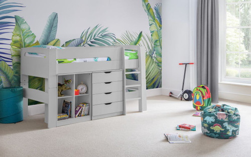 Pluto Midsleeper Bed, Bookcase and Drawer Chest Dove Grey