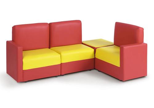 Corner Sofa in Red & Yellow