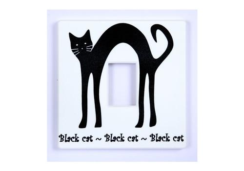 Black Cat White Light Switch Cover
