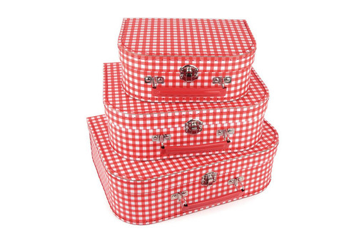 Red Gingham Stacking Storage Cases (Set of 3)