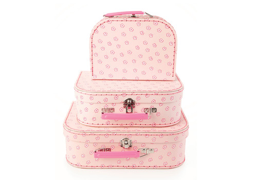 Pink Flowers Stacking Storage Cases ( Set of 3 )