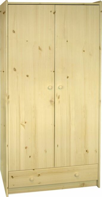 Kids Rooms' Pine Tall Wardrobe 2 Doors And 1 Drawer