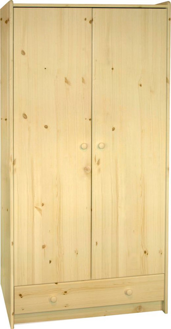Kids Rooms' Pine Tall Wardrobe 2 Doors And 1 Drawer