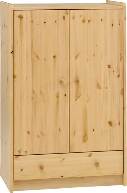 Kids Rooms' Pine Low Wardrobe 2 Doors, 1 Drawer