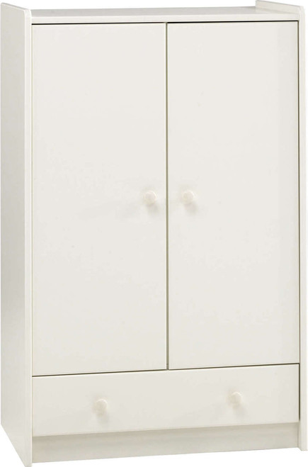 Kids Rooms' White Low Wardrobe 2 Doors and 1 Drawer