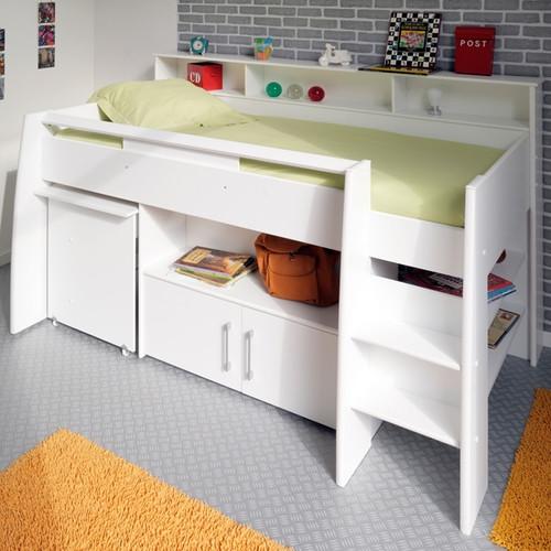online store 63f9c 35565 Veno White Storage Mid Sleeper Bed With Desk