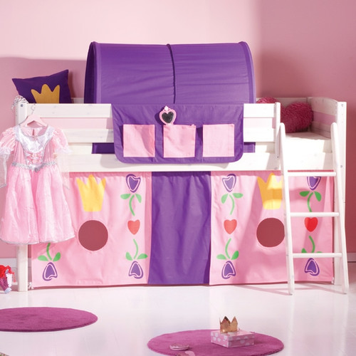 Luna Whitewash Mid Sleeper Bed With Play Tent