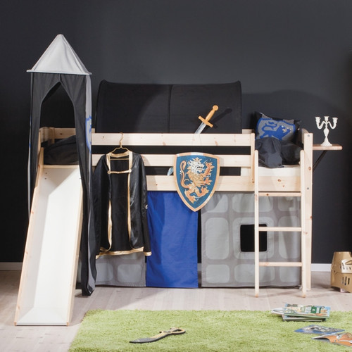 Ryder Pine Mid Sleeper Bed With Play Tent + Slide
