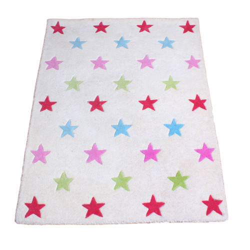 Pink and Red Star Rug