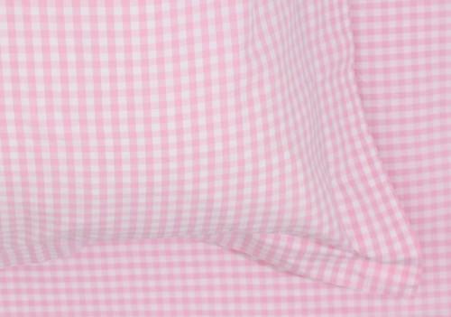Pink Gingham Cot Duvet Set