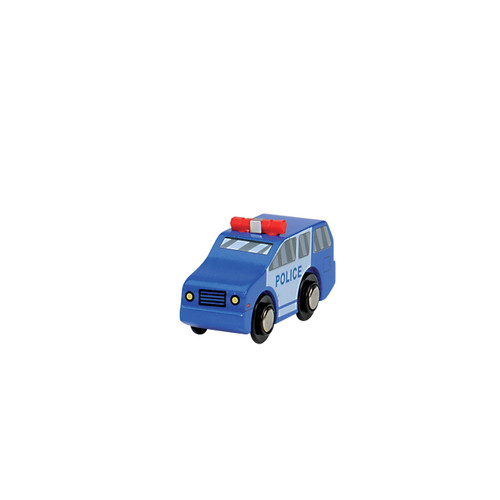 Blue Wooden Police Car