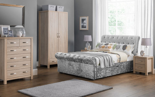 An image of Verona Sleigh Bed 150cm In Silver Crushed Velvet