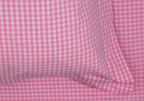 An image of NEW Pink Gingham Double Duvet Set
