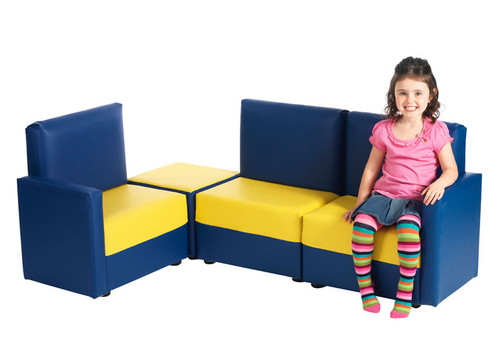 An image of Corner Sofa in Blue & Yellow