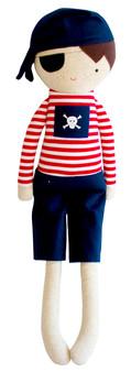 Linen Pirate Boy 50cm Navy & Red