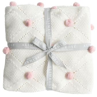 Pom Pom Stroller Blanket Pink - 100cm x 70cm
