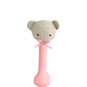 Baby Bear Stick Rattle Pink with White Spot