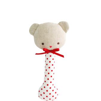Baby Bear Stick Rattle Red Spot