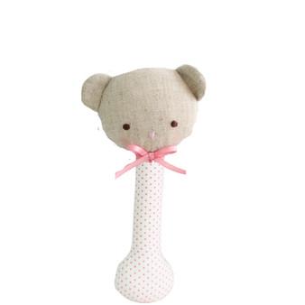 Baby Bear Stick Rattle Spot Pink on Ivory