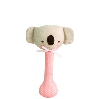 Baby Koala Stick Rattle Pink with White Spot