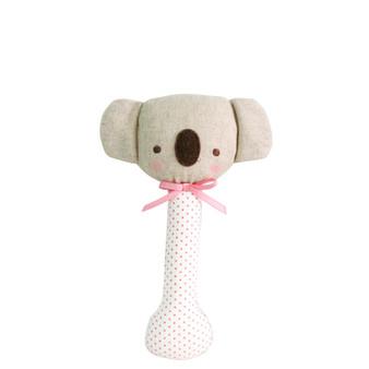 Baby Koala Stick Rattle Spot Pink on Ivory
