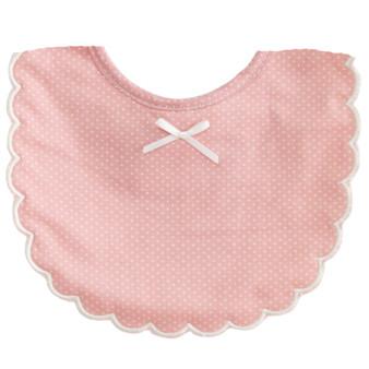 Scallop Edge Bib Pink Ivory Spot