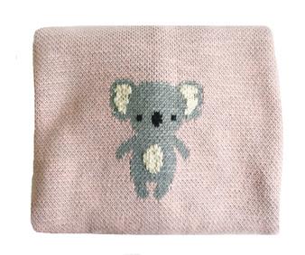 Organic Cotton Koala Baby Blanket - Pink