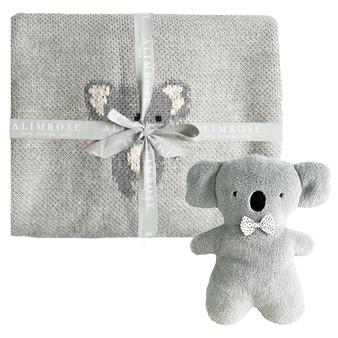 Organic Koala Baby Blanket Set Grey