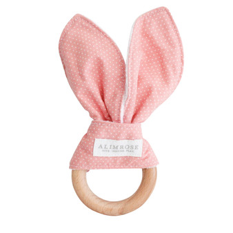 Bailey Bunny Teether Pink White Spot