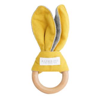 Bailey Bunny Teether Butterscotch Linen