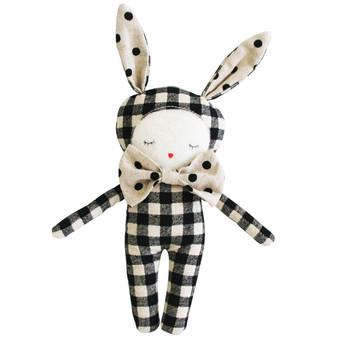 Dream Bunny 20cm Black Check Linen