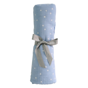 Muslin Cotton Swaddle Starry Night - Baby Blue