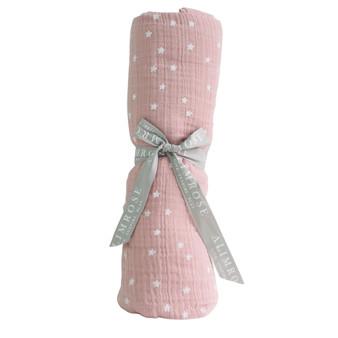 Muslin Cotton Swaddle Starry Night - Pink