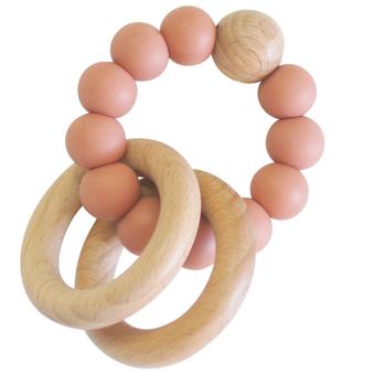Beechwood Teether Ring Set - Terracotta