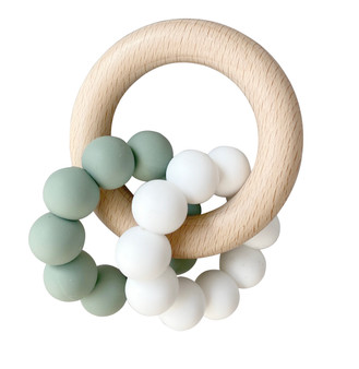 Double Silicone Teether Ring - Sage White