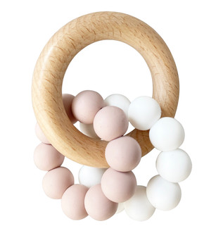 Double Silicone Teether Ring - Petal White
