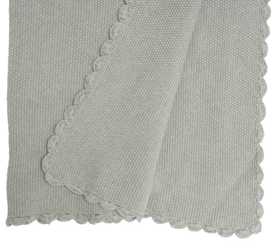 Knit Mini Moss Stitch Blanket 100% cotton - Grey 100cm x 100cm