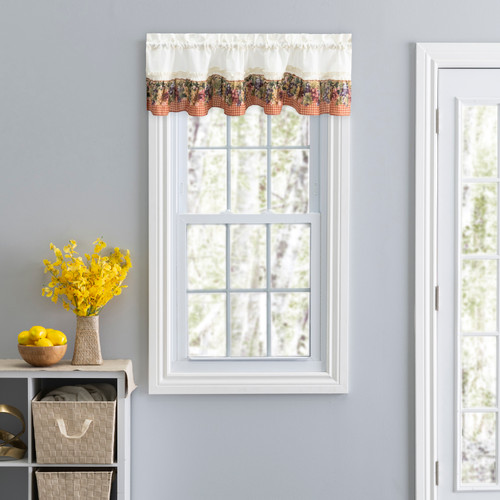 Tuscan Hills-Ruffled Valance in Red
